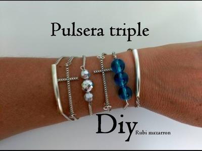 Diy. Pulsera triple