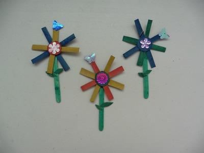 Flores con palitos de paletas y rollo de papel higenico - Creative Flower