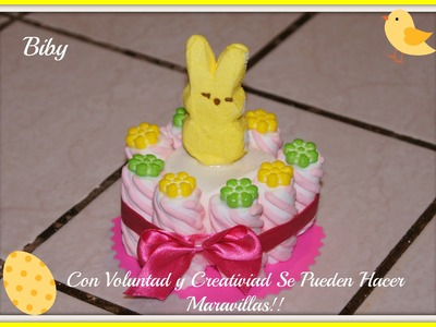 MINI PASTEL DE BOMBON. peeps marshmallow mini cake