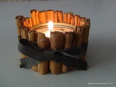 Portavelas navideño con una lata de atún y canela - Candle holder recycled tuna can & cinnamon