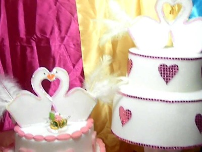 Torta de Bodas Cisne en Goma Espuma (Sombrero)