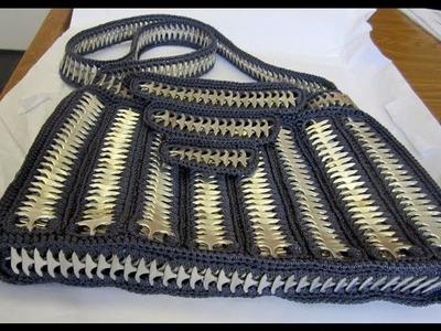 Como hacer una bolsa con anillas de lata: Bolso Practico parte 4