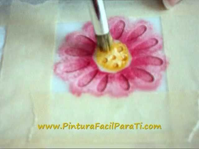 Pintura de Flores 03 Pintura en Tela - Pintura Facil Para Ti.wmv