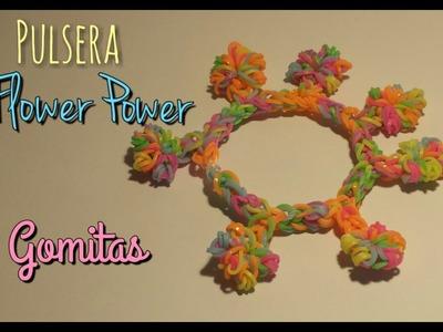 Tutorial: Pulsera Flower Power de Gomitas. Flower Power Bracelet Loom Bands