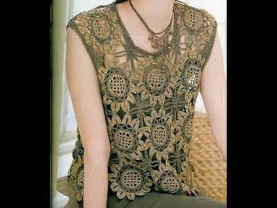 Blusa unión de Girasoles a Crochet