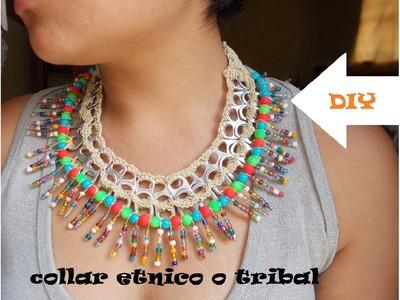 Collar etnico o tribal RECICLADO con anillas