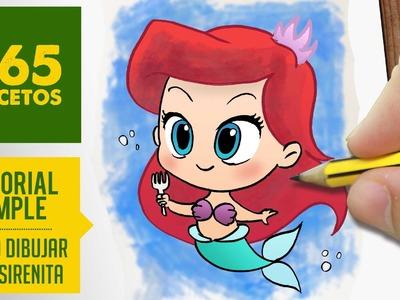 COMO DIBUJAR A ARIEL DE LA SIRENITA: Dibujar princesas disney en español - dibujo kawaii