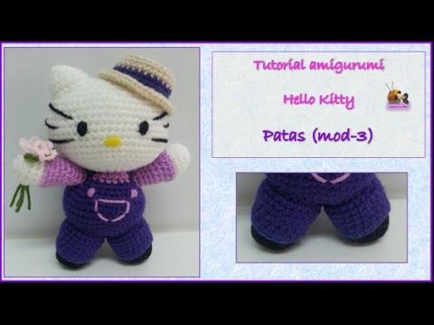 Tutorial amigurumi Hello Kitty - Patas (mod-3)