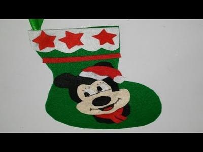 Botas de navidad de  mickey mouse adornos navideños tutorial manualidades DIY