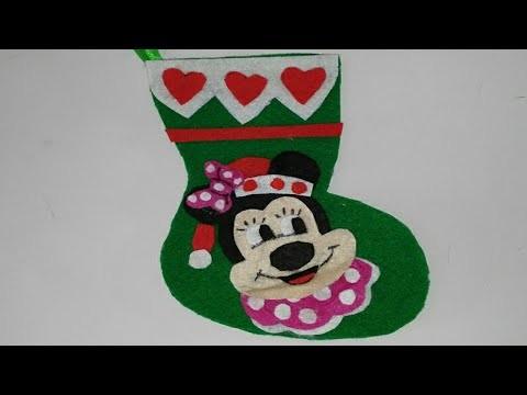 Botas de navidad de minnie mouse adornos navideños tutorial manualidades manolidades DIY