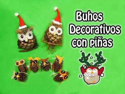 Buhos decorativos con piñas - DIY Owl. Colaboración♥