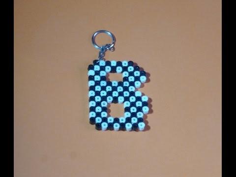 Como hacer un llavero con hama beads LETRA B Peticion DIY