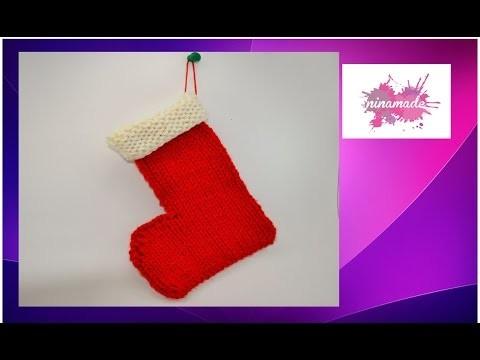 """DIY. Como tejer una bota de """"Papá Noel"""" con 2 agujas. How to knit a Santa Claus boot."""