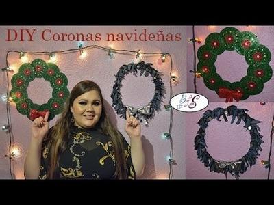 DIY Coronas navideñas con material reciclado
