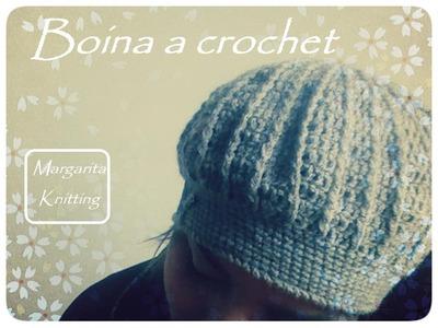 Boina en puntos altos relieve a crochet (zurdo)