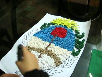 Escudo Nacional Argentino con papel crepé