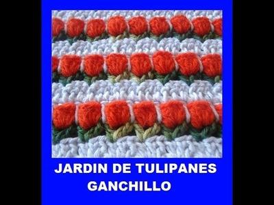 Jardin tulipanes a Ganchillo
