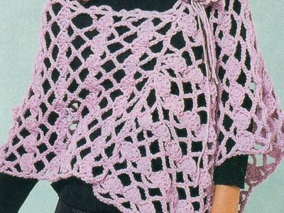 Patrón Para Tejer Poncho Rosa Calado a Crochet