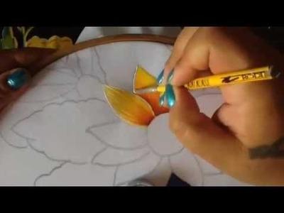 Pintura en tela camino de girasol # 1 con cony