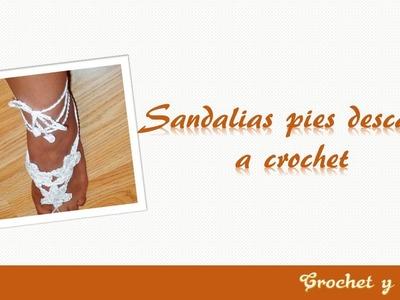 Sandalias pies descalzos  -  Pulseras para pies descalzos a crochet (ganchillo)