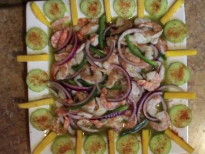 Como hacer aguachile. Lime shrimp