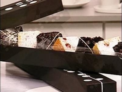Postres para regalar - Brownies de chocolate obscuro  Blondies de chocolate blanco