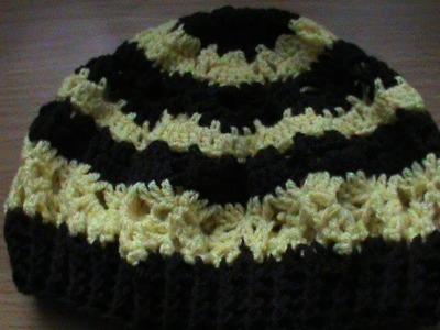 Boina o gorro bicolor a crochet. 1a. parte.