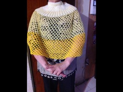 Capa,  tejida con puntada espuma de mar. Crochet. Ganchillo parte 2.2