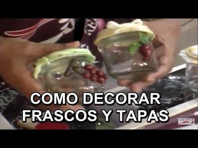 DECORANDO TAPAS DE FRASCOS 35