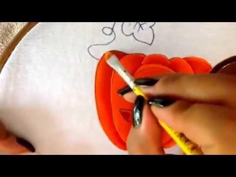 Pintura en tela calabaza y hoja de niño granjero cinco con cony