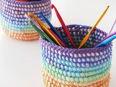 Tutorial Cesto tejido a Crochet