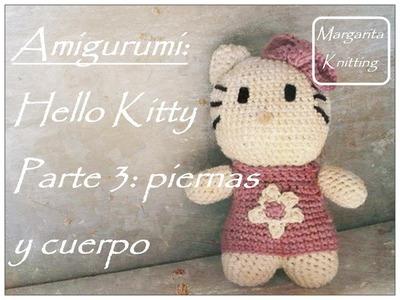 Amigurumi hello kitty a crochet parte 3:  piernas y cuerpo (zurdo)