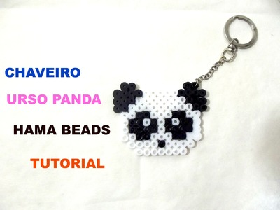 Chaveiro de Urso Panda ( HAMA BEADS ) - Panda Bear Keychain ( PERLER BEADS ) - LLavero de Oso Panda