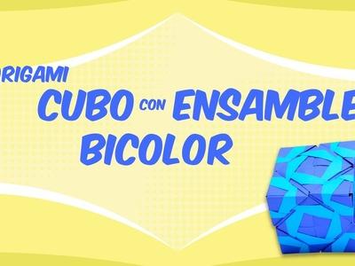 Cubo de origami con ensamble bicolor DIY