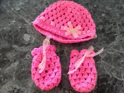 Guantes para bebé punto piña,  crochet, ganchillo. baby gloves