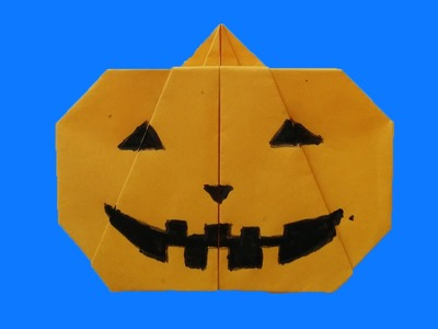 Abóbora de Halloween de papel - DIY - Paper Halloween pumpkin | Origami Abóbora