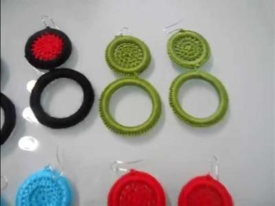 Complementos con aros a crochet para flamenca. zarcillos