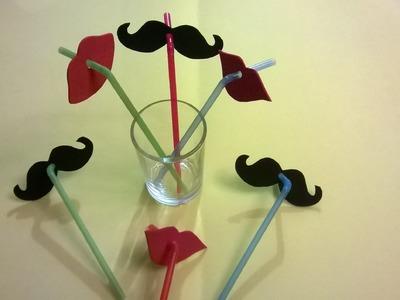 DIY bigotes y labios para popotes!!