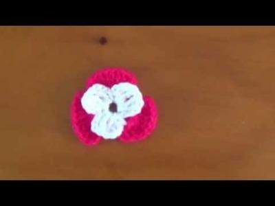 Flor para saco con flores a crochet No. 3