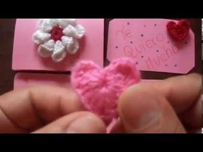 Tarjetas para el dia del amor y la amistad (tejidas a crochet)