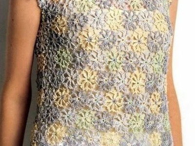 Túnica de Florecitas Multicolor a Crochet