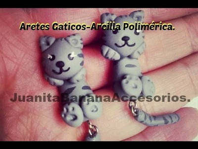 Aretes Gatos Grices en Arcilla Polimérica. cat earrings polymer clay