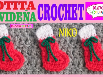 """Botita Navideña """"NIKO"""" Miniatura a Crochet Aplicación por Maricita Colours"""