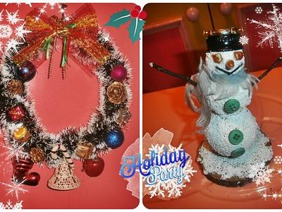 DIY-Christmas wreath and Snowman. Bozicni venac i snesko. Corona de navidad y muñeco de nieve