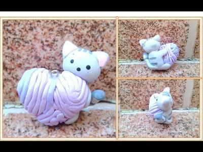 Gato corazon. Arcilla polimerica. Cat heart. Polymer clay