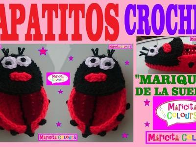 """Zapatitos de Bebé a Crochet  """"Mariquita de la Suerte (Parte 1)  por Maricita Colours"""