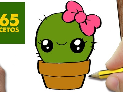 COMO DIBUJAR UN CACTUS KAWAII PASO A PASO - Dibujos kawaii faciles - How to draw a cactus