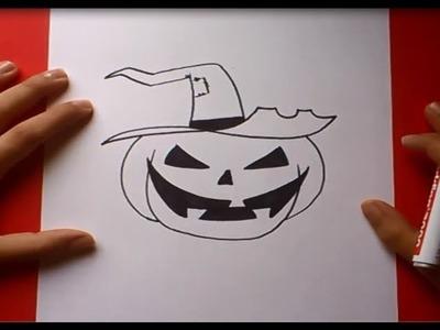 Como dibujar una calabaza paso a paso 2 | How to draw a pumpkin 2