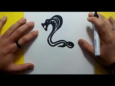 Como dibujar una cobra tribal paso a paso | How to draw a tribal cobra