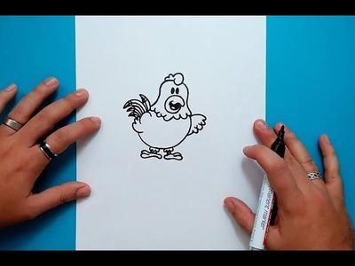 Como dibujar una gallina paso a paso | How to draw a chicken